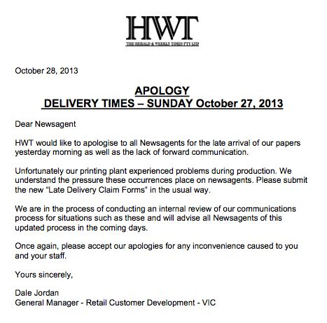 News corp apology to newsagents australian newsagency blog hwtapology ccuart Gallery