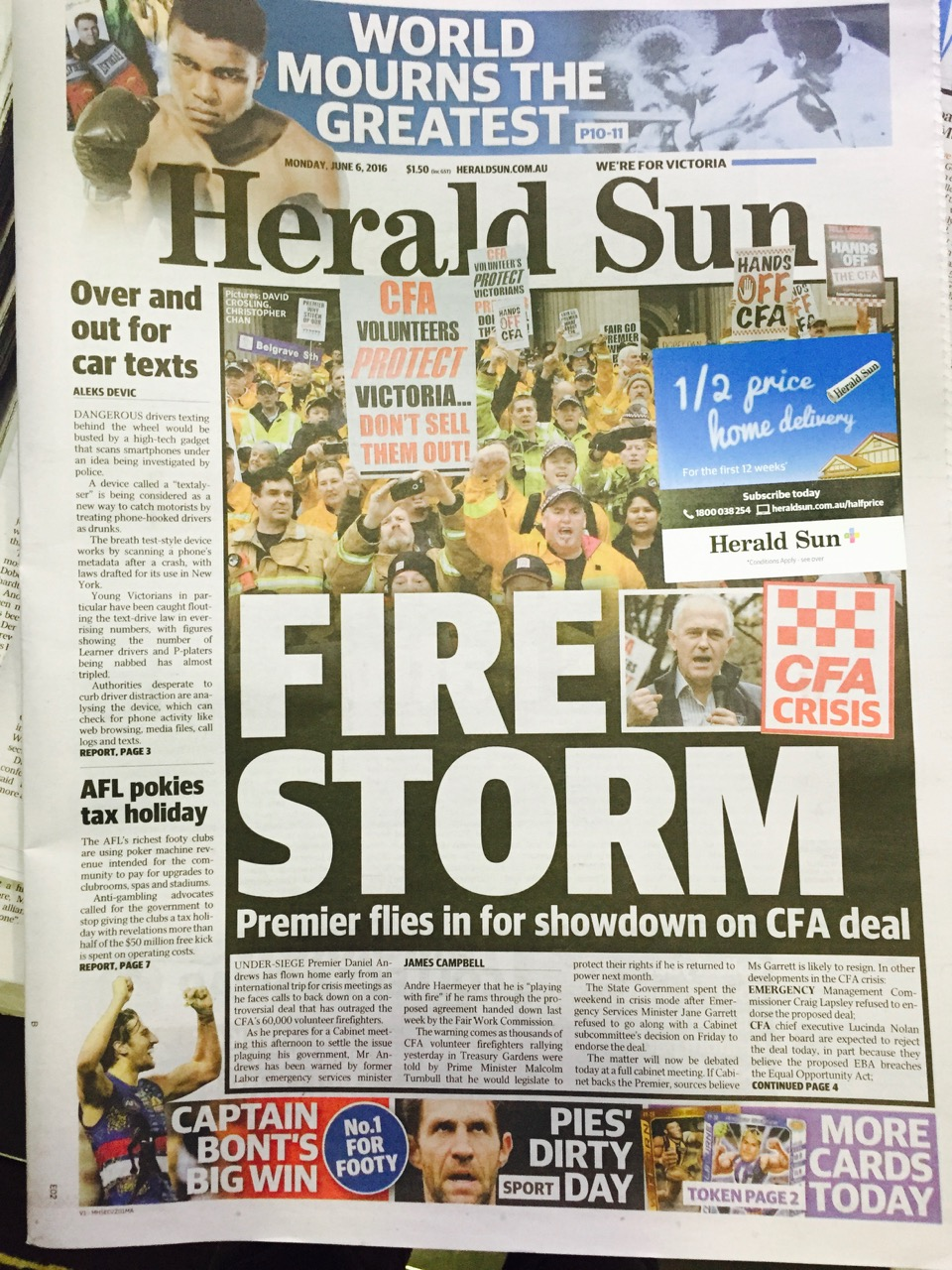 Herald Sun (Australia) Front Page for 6 April 2013