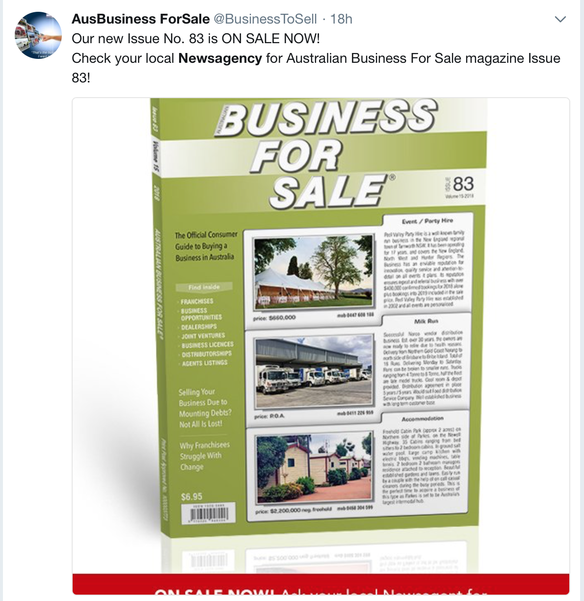 Australian Business For Sale magazine promotes newsagents on