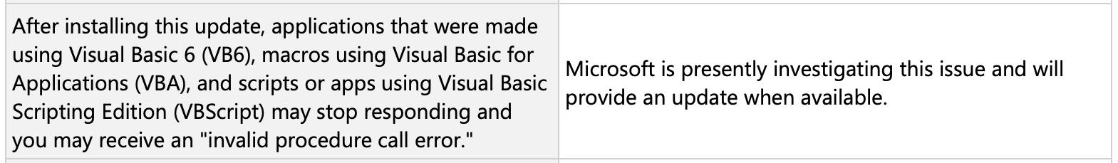Microsoft confirms Visual Basic issue